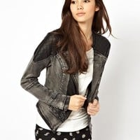 Only Quilted Leather Look Panelled Denim Jacket - Gray denim