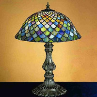 """0-006654>17""""h Fish Scale Shell Base Accent Lamp"""