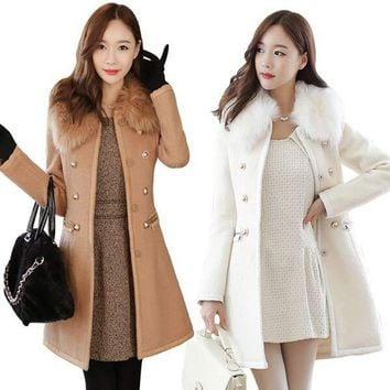 Patchwork Women Woolen Coat Slim Women's Jacket Fur Collar  Cashmere Coat and  Jacket