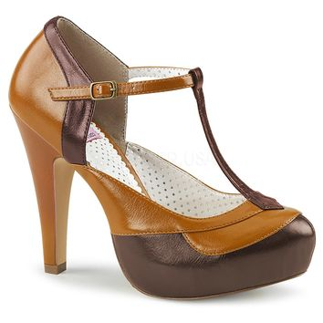 Pin Up Couture Bettie-29 Brown Maple T-strap Heels