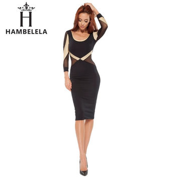 HAMBELE 2017 Sexy Fashion Celebrity Style Women Party Dresses Casual Bodycon Vestido De Festa Long Sleeve Autumn Pencil Dresses