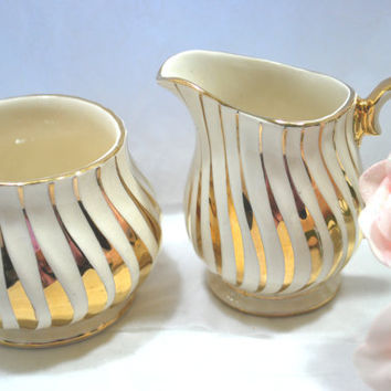 Gold Sadler Sugar and Creamer Art Deco England 1950