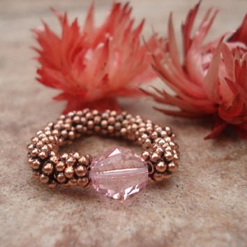 Light Rose Swarovski Crystal Ring with Antique Copper Daisy Shape Beads, Stretch Ring , For Her
