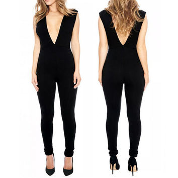 Summer New 2016 Sexy Womens Sleeveless Jumpsuits Deep V Slim Elegant Solid Color Overalls Casual Long Rompers Plus Size