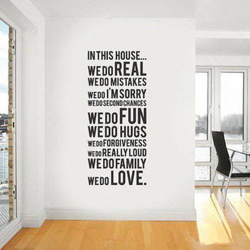 in this house wall decal house  rules vinyl art stickers for home decor in this house we do real
