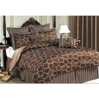 King Size 11 Piece Bedding Set Olympia Choco- Includes 600 Thread Count Sheet Set