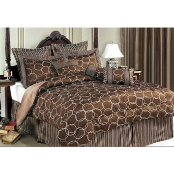 11PC Bed Set Olympia Choco-Includes 600 Thread Count Sheet Set! in King Size (Light Blue Sheets)