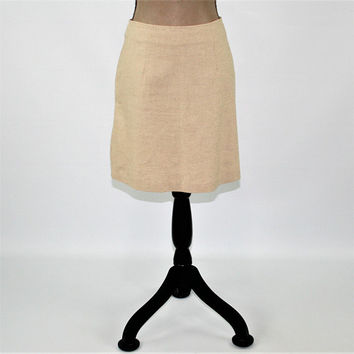 Beige Skirt Women Mini Skirt Cotton Linen Skirt ALine Small Medium Size 7/8 Short Skirt 80s 90s Vintage Clothing Womens Clothing