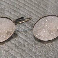 Druzy earrings-  Light peach drusy bronze tone dangle druzy earrings