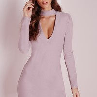 Missguided - Crepe Curve Hem Cut Out Bodycon Dress Mauve