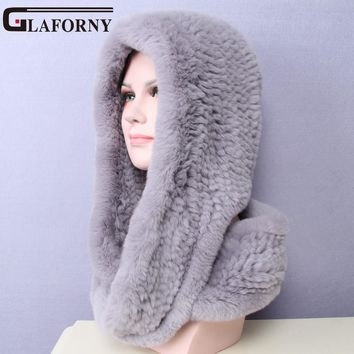 Glaforny 2017 Knitted Real Rex Rabbit Fur Hat Ear Muff Earwarmer Scarf Cap Soft and Fashionable 2 Use 22 Colors