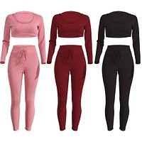 Suit of 2pcs Sexy Bodycon Round Neck Hoody Pants Summer Casual Jumpsuit Romper Sportswear
