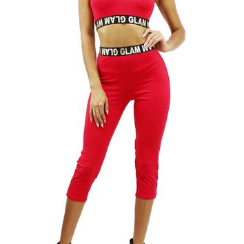GLAM Sleeveless Crop Top and Elastic Waist Band Skinny Leggings Set