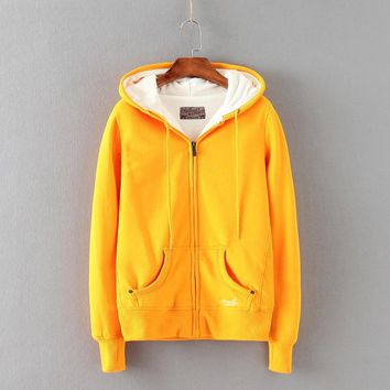 Zuolunouba 2018 New Winter Coat Casual Yellow Cotton Hoodies Women Corduroy Solid Zip-up Tie Collar Girl Sweatshirts Pocket