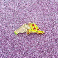 Pizza Lapel Pin Grab a Slice Hand Holding by HeatherBuchanan