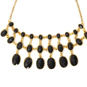 Black Crystal Choker Necklace Tiered Chainmail Link Collar NL30 Gold Tone Bib Pendant Fashion Jewelry