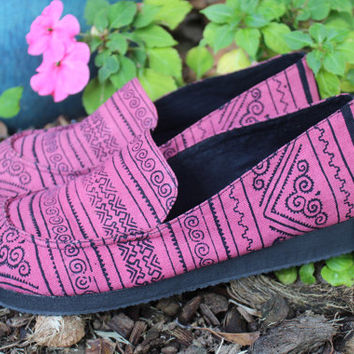 Vegan Womens Loafers Hmong Batik On Pink Casual Shoe