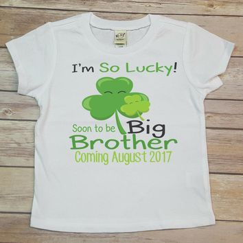 I'm So Lucky Soon To Be Big Brother Personalized Tee Shirt - Birthday Shirt. Kids Birthday. Infant TShirt. Toddler Shirt. Sibling