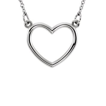 Polished 16mm Heart Necklace in 14k White Gold, 16 Inch