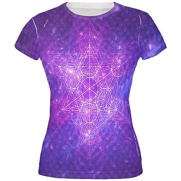 Sacred Geometry Metatron Cube Map of Creation All Over Juniors T Shirt