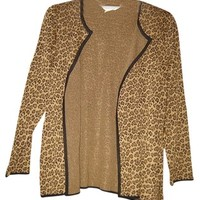 Misook Exclusively Leopard Animal Print L Large Cardigan