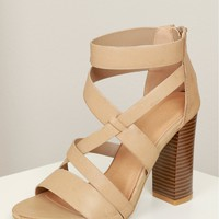 Criss Cross Strappy Heel Stone