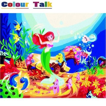 DIY Oil Painting By Numbers on Canvas for Kids Children Acrylic Modern Wall Pictures for Living Room Cartoon Mermaid P-2367