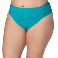 Plus Size - Peacock Swim Bottom With Ruched Sides - Peacock
