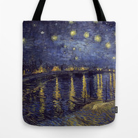 Vincent Van Gogh Starry Night Over The Rhone Tote Bag by Art Gallery