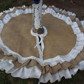 White Burlap Christmas Tree Skirt Rustic Tree Skirt Ruffled Tree Skirt  HandmadeTree Skirt ExPress Shipping Ready To Ship
