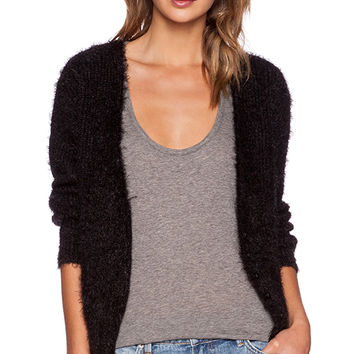 ANINE BING Black Fuzzy Cardigan in Black
