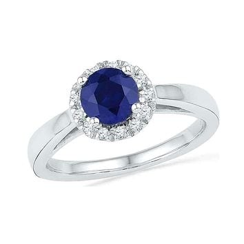 10kt White Gold Women's Round Lab-Created Blue Sapphire Solitaire Ring 1-1/8 Cttw - FREE Shipping (US/CAN)