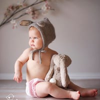 Bunny Hat - Alpaca Wool - Silk - Sizes: Toddler - Little Child - Bonnet - Pixie - Gray White Honey Brown Pink - Ears