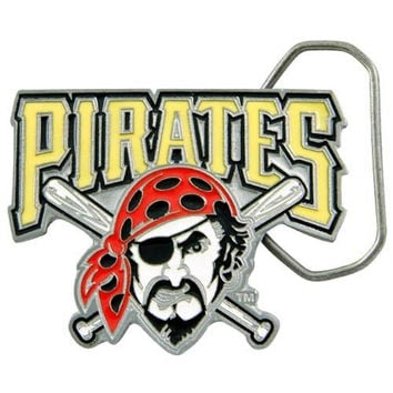 MLB Pittsburgh Pirates Belt Buckle, Silver