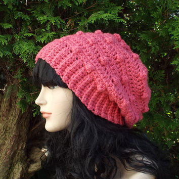 Lipstick Pink Slouchy Crochet Hat - Womens Slouch Beanie - Ladies Oversized Cap with Bobbles - Chunky Hat
