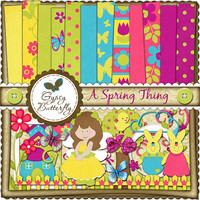 Digital Scrapbooking kit - A Spring Thing - child clipart and digital papers