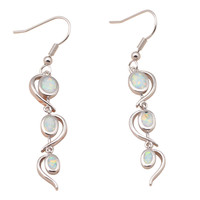 Designer brinco ! Noble style White Fire Opal Silver Stamped Dangle Earrings for women Fashion Jewelry OE363A