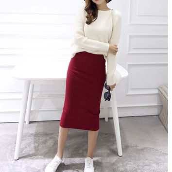 2016 spring Autumn And Winter package hip skirt slit skirts women step skirt stretch Slim thin female waist skirts Long skirts