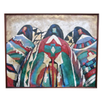 Vanguard Studios Large Indian Papoose Painting signed Lee Reynolds