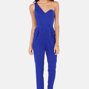 One Way Or Another One Shoulder Royal Blue Jumpsuit
