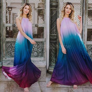 Women BOHO Ombre Pleated Beach Dress Evening Party Sleeveless Maxi Dress X4X4