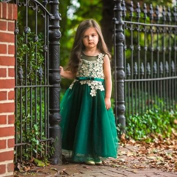 Fiona Emerald Green & Gold Flower Lace Gown Dress