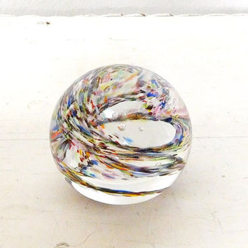 Glass Paperweight Domed Colorful Confetti Paperweight Office Desk Decor Gypsy Bohemian Decor Paper Weight Vintage