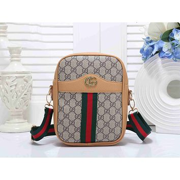 Gucci Popular Women Leather Red Green Stripe Shoulder Bag Crossbody Satchel Handbag(6-Color) Khaki I-KSPJ-BBDL