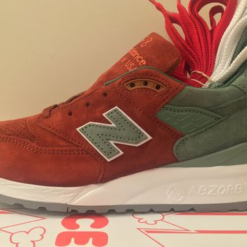 BC QIYIF New Balance X Concepts 998 Rivalry Pack Boston Red Sox Red Dirt Green Made USA