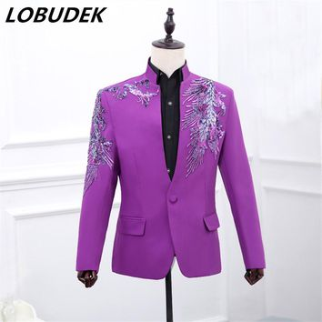 male jacket blazer costume Purple sequined man MC host dress stage program singer wedding prom groom party blue red color