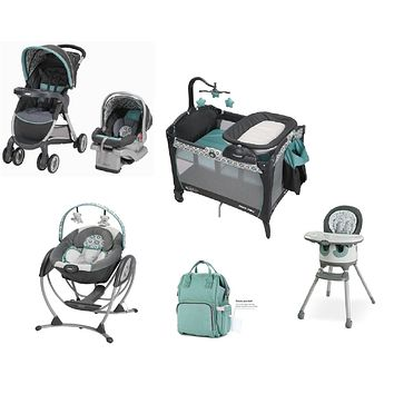Graco Light Blue Baby Gear Bundle, Stroller Travel System,Play Yard,Swing,High Chair & Diaper Bag