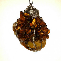 Copper Wire Wrap Tree of Life Suncatcher Yellow Agate Slice Tigers Eye
