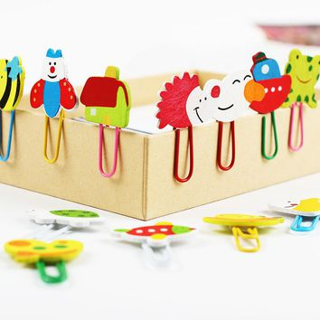 24PCS/2 Set Cute Cartoon Animal Pattern Wooden Paper Note Clips Bookmark Paper Clip Stationery Learning Office Supplies