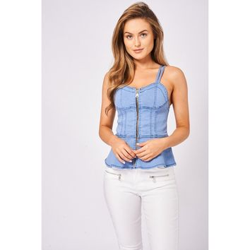 Denim Zip Front Bustier Top